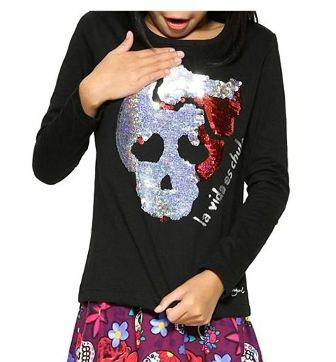 Desigual Girls Atlanta Reversible Sequin Crossbone L/S   - Black