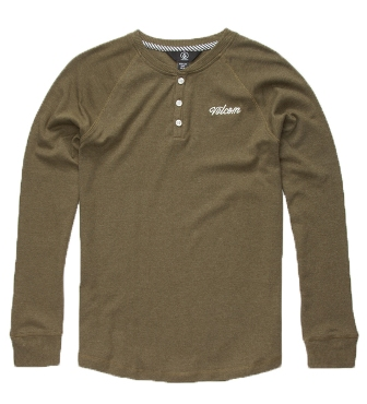 Volcom Youth Boys Fowler L/S Henley - Military Green