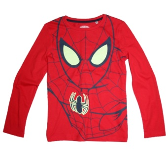 """I Glow in the Dark"" Marvel Boys Official Licensed Spiderman L/S - Red"