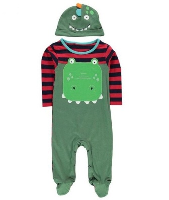 Crafted Infant Boys 2-Pc  Dino Romper Set - Green