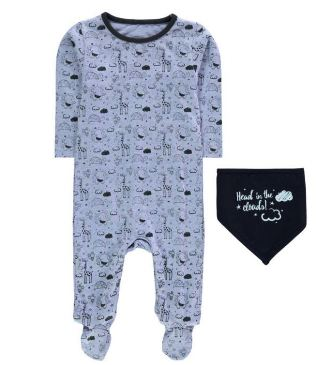 Crafted Infant Boys 2-Pc  Animal Print Romper Set - Blue
