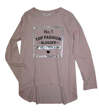 Feral Princess Girls  Fashion Blogger Drop Hem L/S - Pink