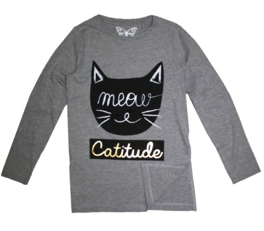 Feral Princess Girls Catitude Split Hem L/S - Grey