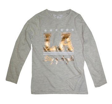 Feral Princess Girls LA Gold Print Split Hem L/S - Oatmeal