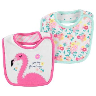 Crafted UK Flamingo Appliqued/Printed 2-pack Baby Bibs