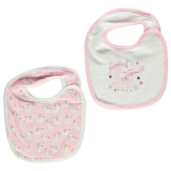Crafted UK Purfect Appliqued/Printed 2-pack Baby Bibs