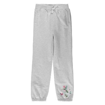 Crafted UK Girls Embroidered Track Pants - Grey