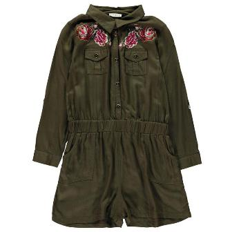 Crafted UK Girls Embroidered Playsuit - Khaki