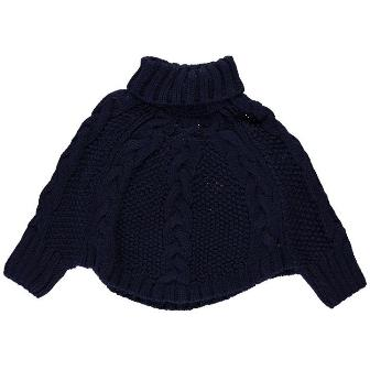 Crafted UK Girls Knitted Poncho - Navy