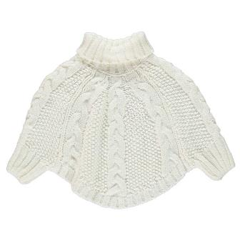 Crafted UK Girls Knitted Poncho - Vanilla