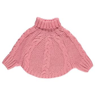 Crafted UK Girls Knitted Poncho - Pink