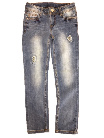 Total Girl for JC Penny USA Girls Stretch Knit Stud/Distressed Denim Jeans