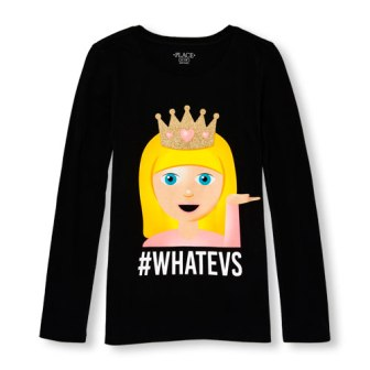 Children's Place Girls Whatevs L/S - Black