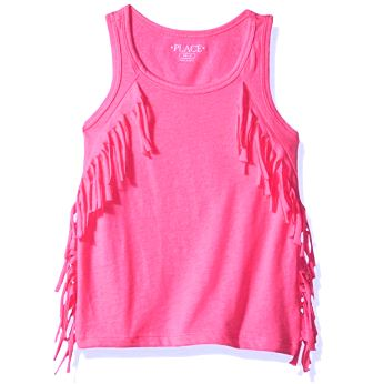 Children's Place Girls Tassel Fringe Top - Peony Pink