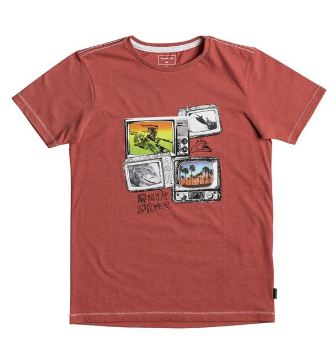 Quiksilver Youth Boys  Super TV S/S Tee - Coral
