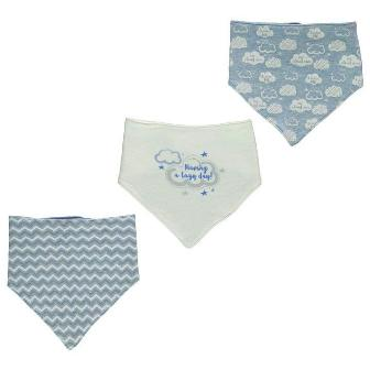 Crafted UK Clouds 3-pack Baby Bandanna Bibs