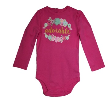 Baby Starters for JC Pennys USA Infant Girls Adorable L/S Bodysuit - Hot Pink