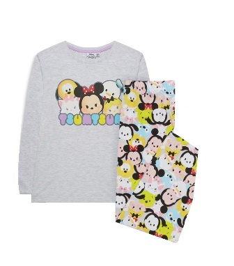 Disney Tsum Tsum Licensed Girls Pyjamas  - Grey/Multi