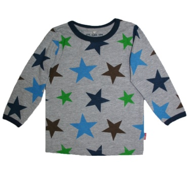 Name It UK  Boys Stretch Star Print L/S - Grey