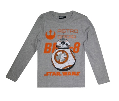 Star Wars Boys Official Licensed BB-8 Astro Droid L/S - Grey