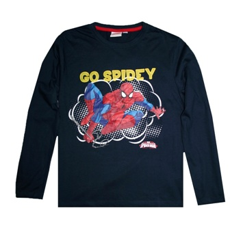 Marvel Boys Official Licensed Go Spidey L/S - Navy