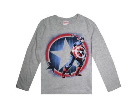 Marvel Boys Official Licensed Captain America L/S - Grey