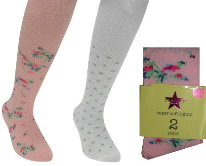 Crafted UK 2pk Ditsy Floral Baby/Toddler Super Soft  Tights