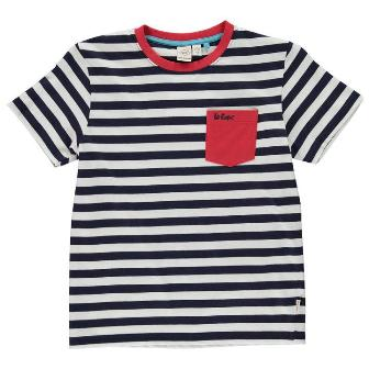 Lee Cooper UK Boys Single Pocket Striped S/S - Navy/White/Red