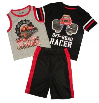 Official Licensed Nickelodeon Blaze Boys 3 Pc Set - Red/Black/Grey