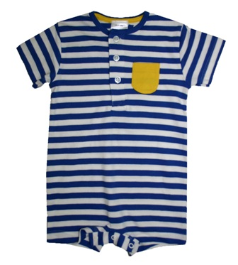 Ex Mothercare Infant Striped One Pocket Henley Romper - Blue/White
