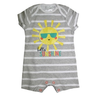 Ex Mothercare Infant Hello Sunshine Striped Romper - Grey