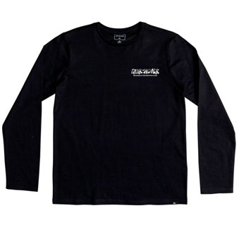 Quiksilver Youth Boys The Original Mountain & Wave Front & Back Print  Long Sleeve - Black