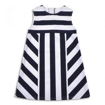 EPK France Designer Girls Nautical Stripe Ponte Dress  - White/Navy