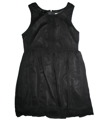 Joe Fresh USA Girls Milk Silk Chiffon Pleat Dress - Black
