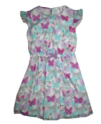 Here + There Germany Girls Chiffon Butterfly Print Dress - Multi