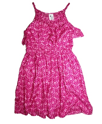 Here + There Germany Girls Aztec Ruffled Print Dress - Hot Pink