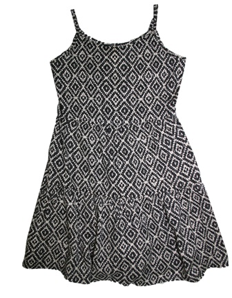 Here + There Germany Girls Aztec Print Swing  Dress - Black/White