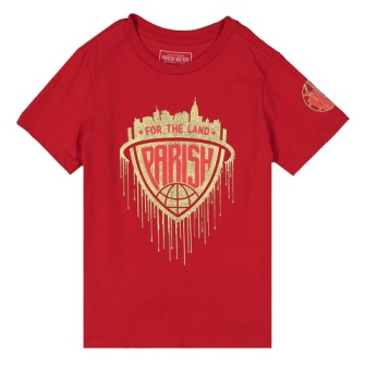 Parish Nation Youth Boys For The Land Gold Foil S/S -  Red
