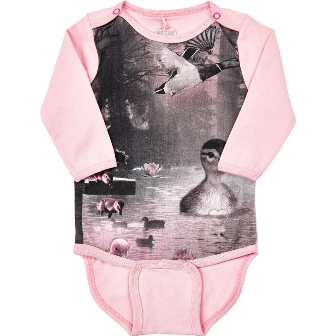 Me Too Denmark Infant Kitten & Duckling Organic Cotton Onesie - Pink