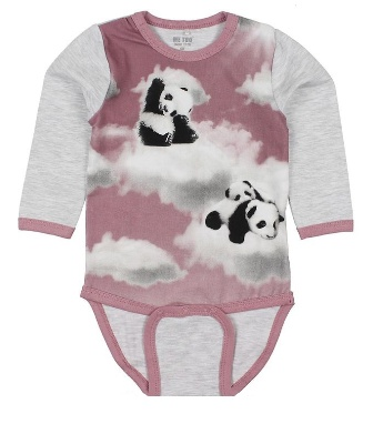Me Too Denmark Infant Panda Organic Cotton Onesie - Grey/Mauve