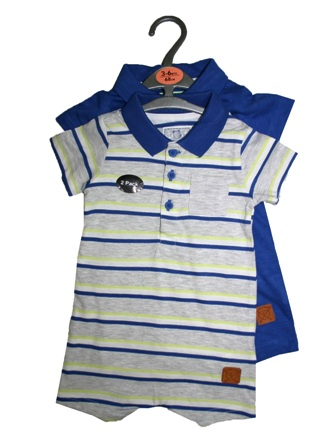 Early Days UK  Boys 2-pc Romper Set  - Grey/Royal Blue