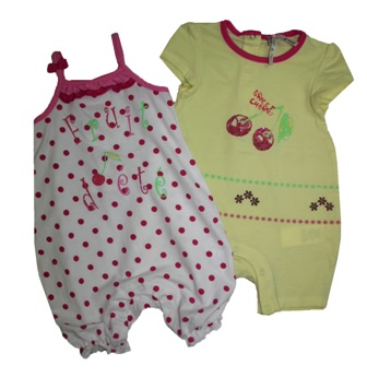 Orchestra France Infant Cherry Romper 2pc Set - Yellow/White