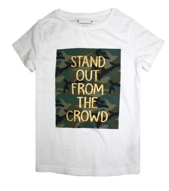 Primark UK Girls Stand Out from the Crowd Tee - White
