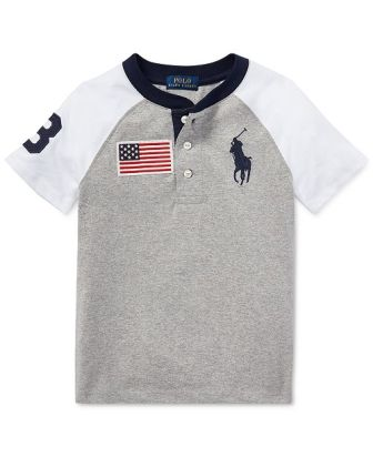 Polo Ralph Lauren Youth Boys Flag Henley S/S - Grey/White