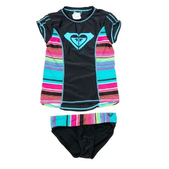 Roxy  Girls  Rainbow Rash Guard  2-pc Swim Set - Black