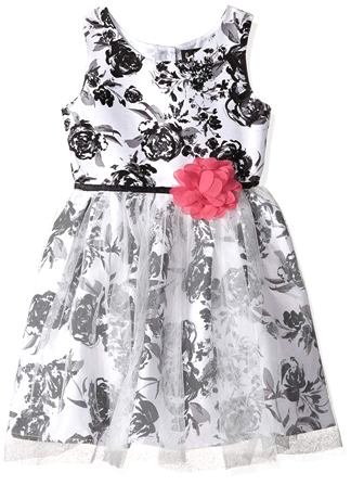 Lilt for JC Pennys  Girls Black Rose Shantung Floral Dress