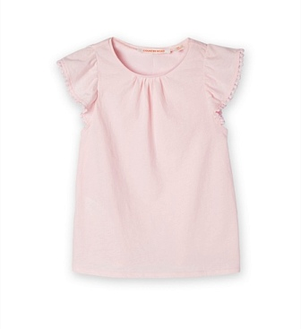 Country Road Girls Pom Pom Flutter Sleeve Tee - Pink