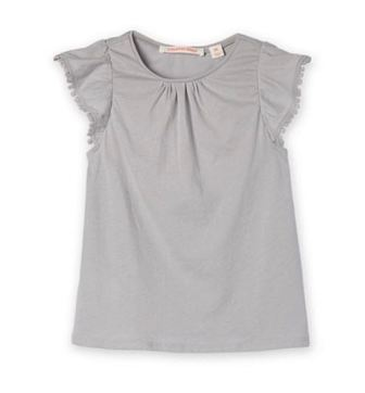 Country Road Girls Pom Pom Flutter Sleeve Tee - Grey
