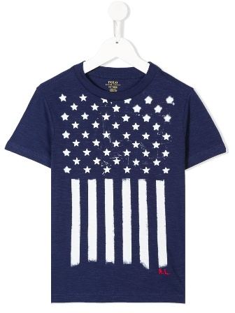 Polo Ralph Lauren Junior Boys Flag Print Melange S/S - Navy