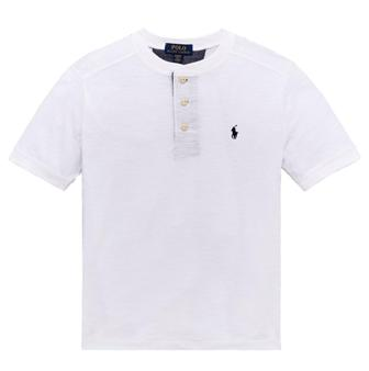 Polo Ralph Lauren Junior Boys Slub Henley Chambray Trim S/S - White